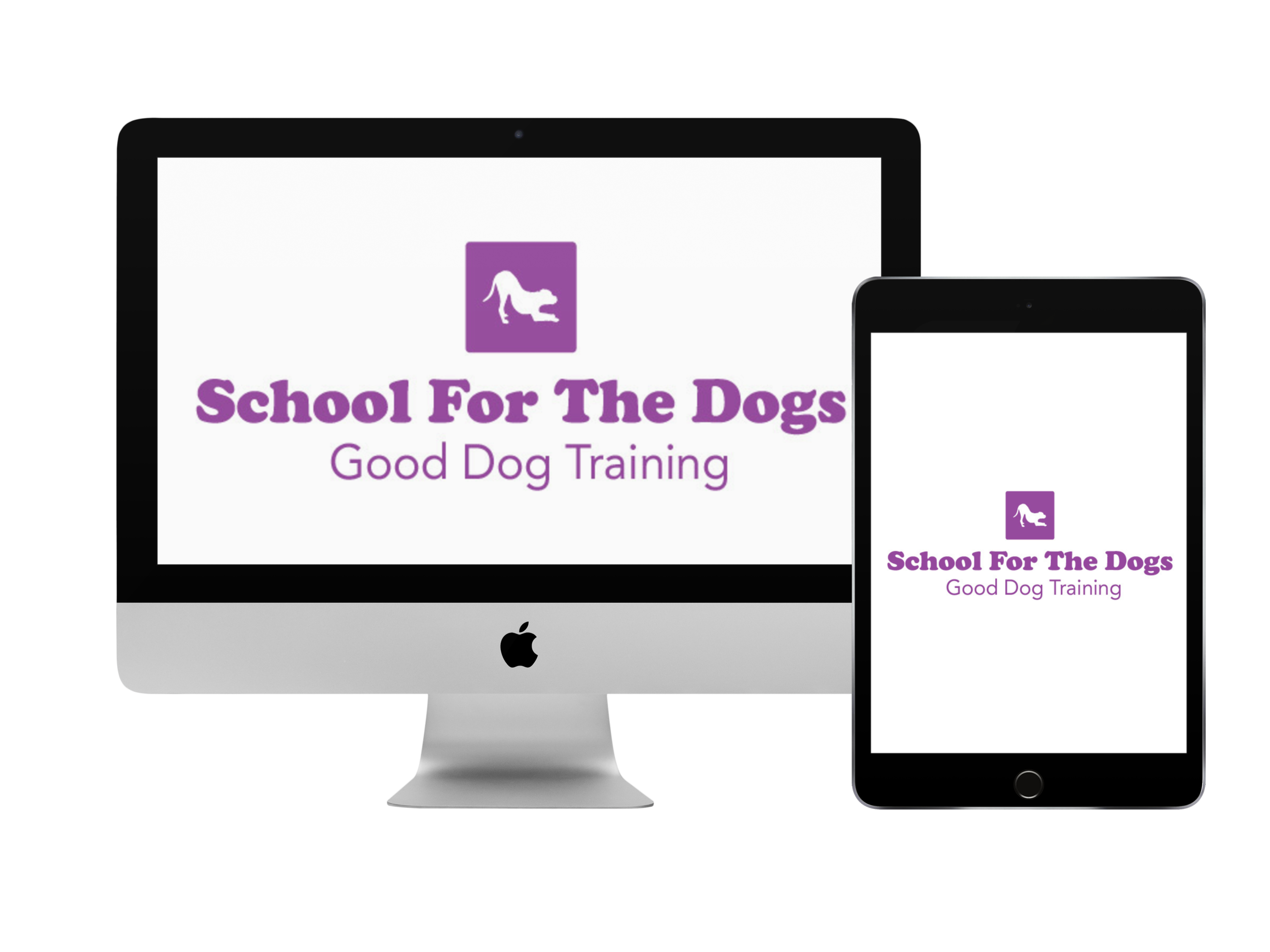 School for the Dogs Good Dog Training logo inside of an imac screen and iPad